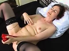 wife having orgasm with red dildo