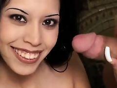 Latina handjob . facial