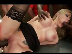 Blond Mature Bareback Gangbang with massive facials