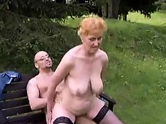 Slut granny with nice boobs & guy