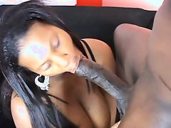 Lovely whore with big ass is sucking his dick on the sofa