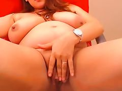 Pregnant big breast lady fucks herself with toy