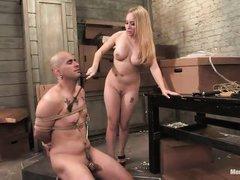 bossy blonde milf dominating her man