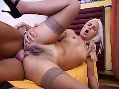 Brunette in silky panties fingers her self with silk gloves then gets fucked