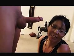 Facial on a mature hot asian