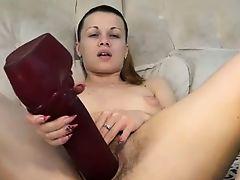 Hairy Milf Using Her Xmas Gift BVR