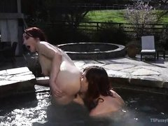 tranny fucks and rims in the hot tub