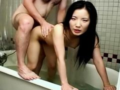 Asian hussy ass fucked in the bathtub