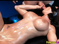 Oiled up and Blindfolded with 2 Cocks