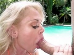 hot milf with huge juicy tits savors my dick outdoors
