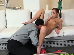 Step dad licking Mollys wet shaved pussy