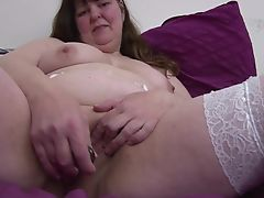 Big chubby mature mom in white stockings