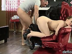Sensual nympho stretches yummy vagina and gets deflorated