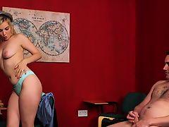 Alluring schoolgirl makes naked sub cum
