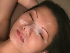 Asian waits for cum on her face