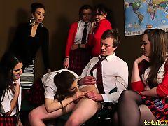 Schoolgirls in CFNM femdom