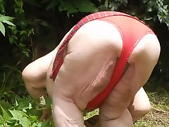 out side red panties