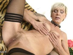 experienced granny pleasuring herself