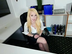Pale teen face-fucked by her dad