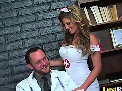 Sexy nurse Charisma Capelli makes her doctor cum