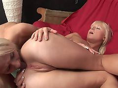 Stunning young blondes licks each other's cunt sensually