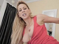 Big-breasted stepmom blows a good boy