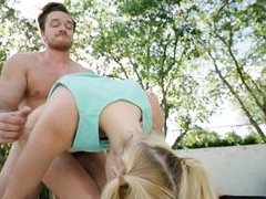 blonde is railed hard from behind